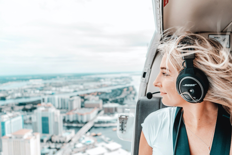 Woman in helicopter image