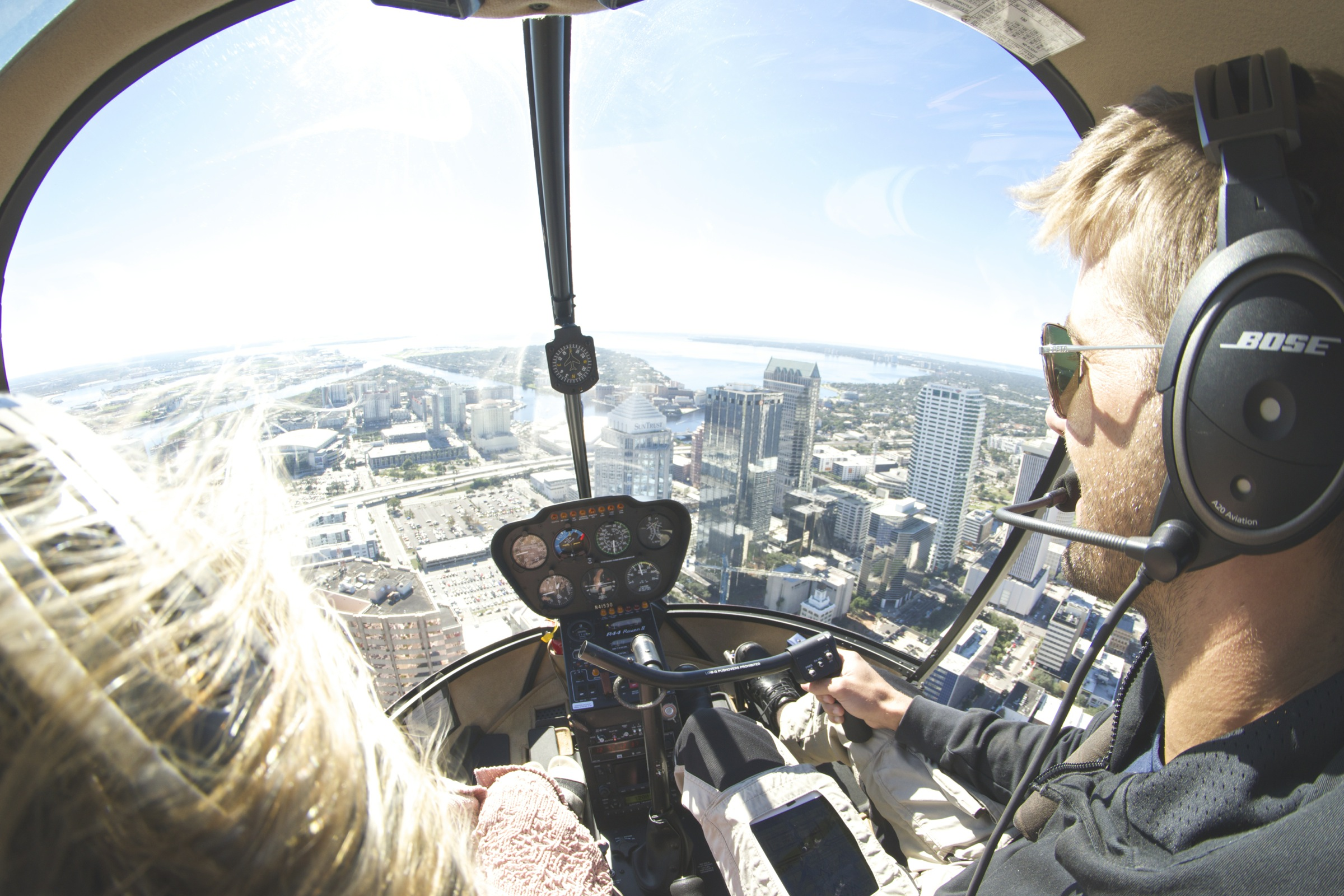 Flying in helicopter image