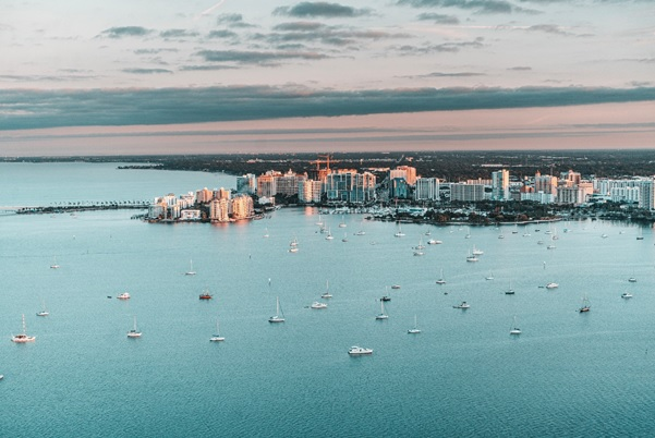 An aerial view of Tampa bay from a helicopter.