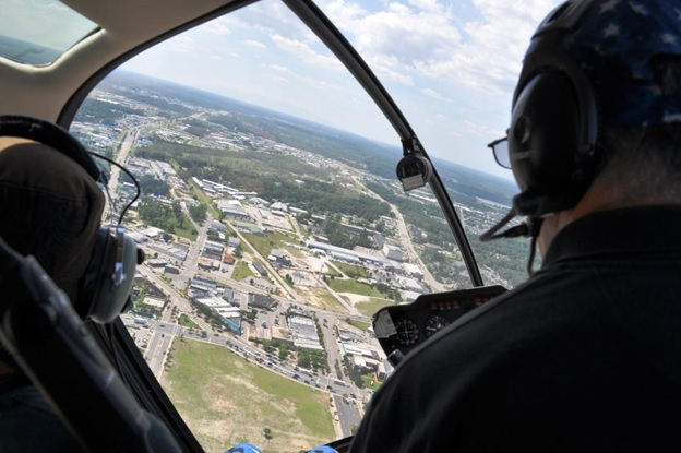 Helicopter ride over the city