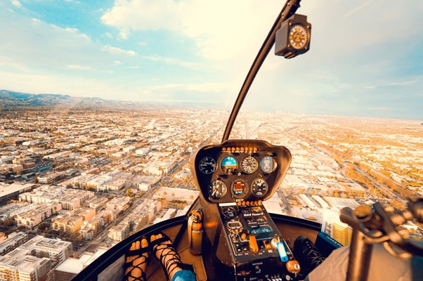 Aerial view from inside a helicopter